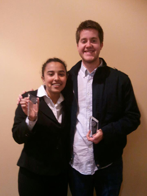 2013 ORCS Jasmine Stein and Jason Chapman with their Outstanding Attorney and Witness Awards.